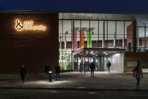 Main entrance to LUT University's Lappeenranta campus in the evening.